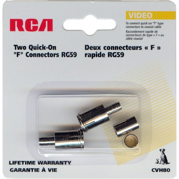 F-Type Crimp Connector for RG59 Cables - Pack of 2 - Click Image to Close